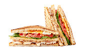 Delicious sliced club sandwich isolated on white background