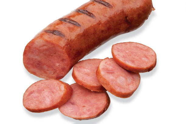 Delicious sliced fried pepperoni appetiser. stock photo