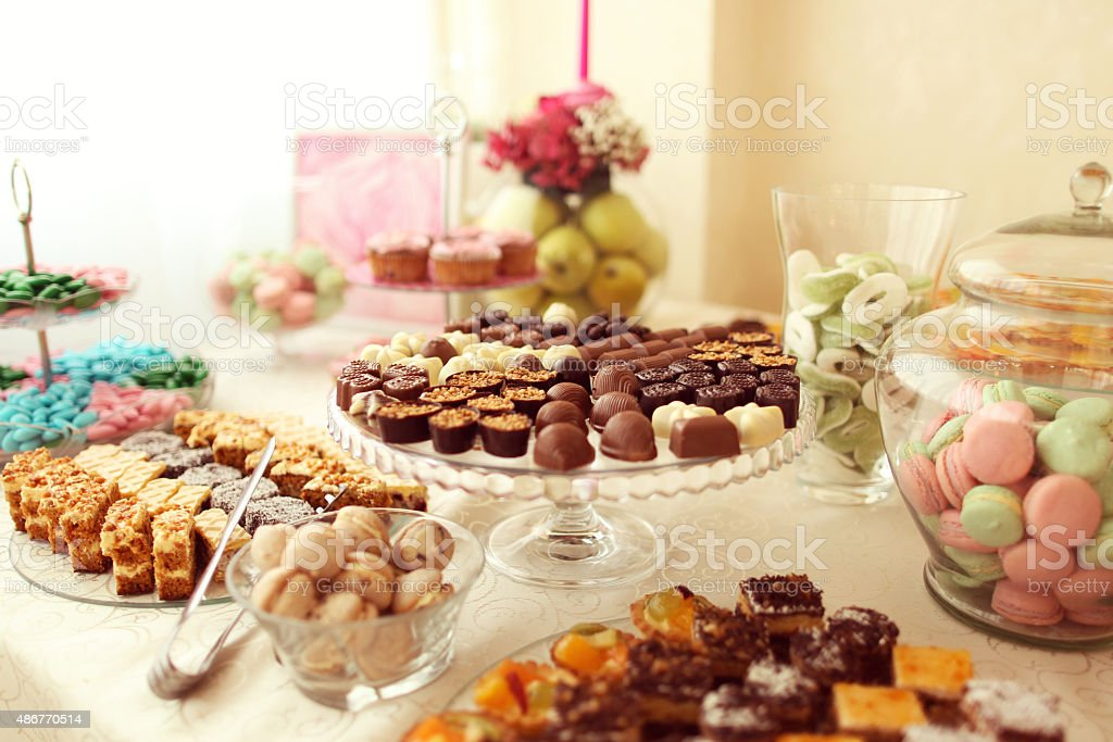 Delicious small chocolates stock photo