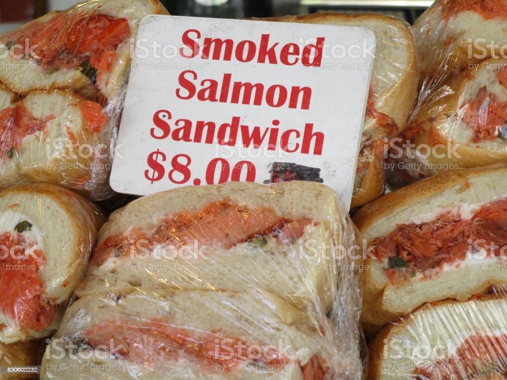 Delicious smoked salmon sandwhich stock photo