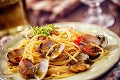 Delicious Spaghetti alla Vongole Served on a Plate