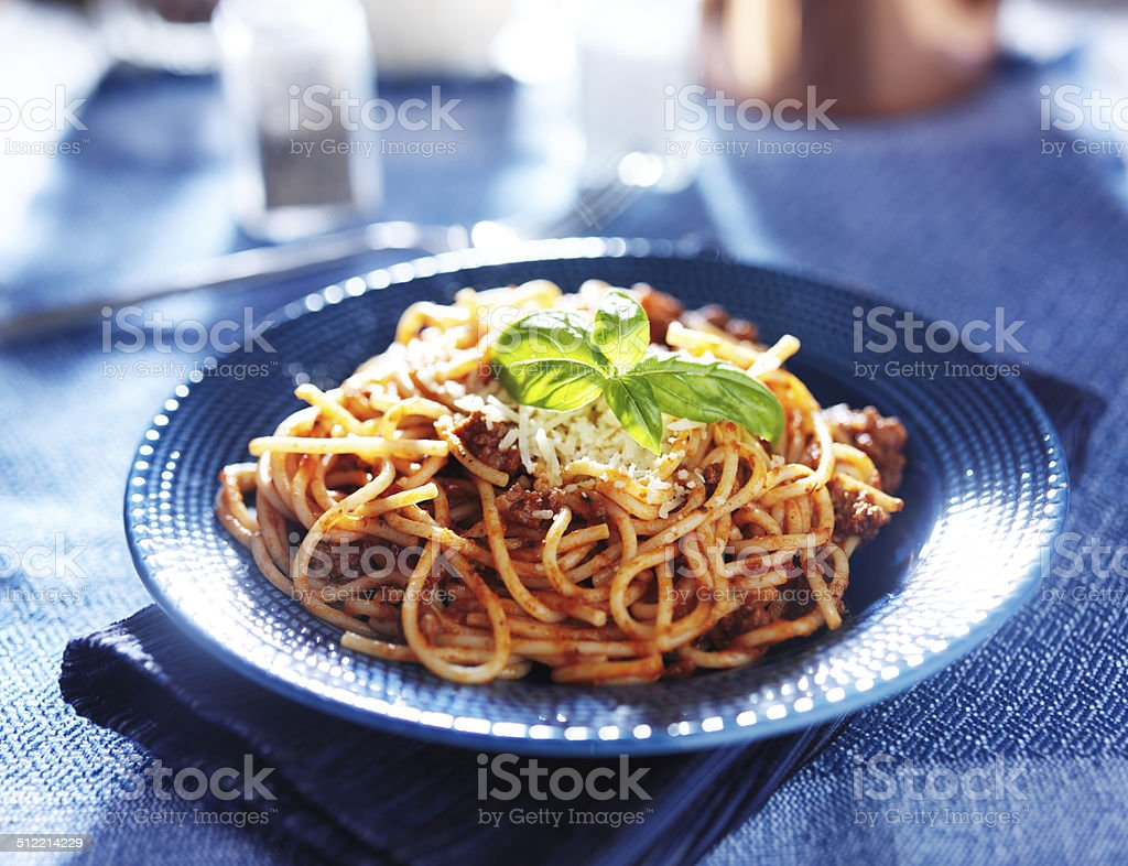 delicious spaghetti in bolognese sauce stock photo