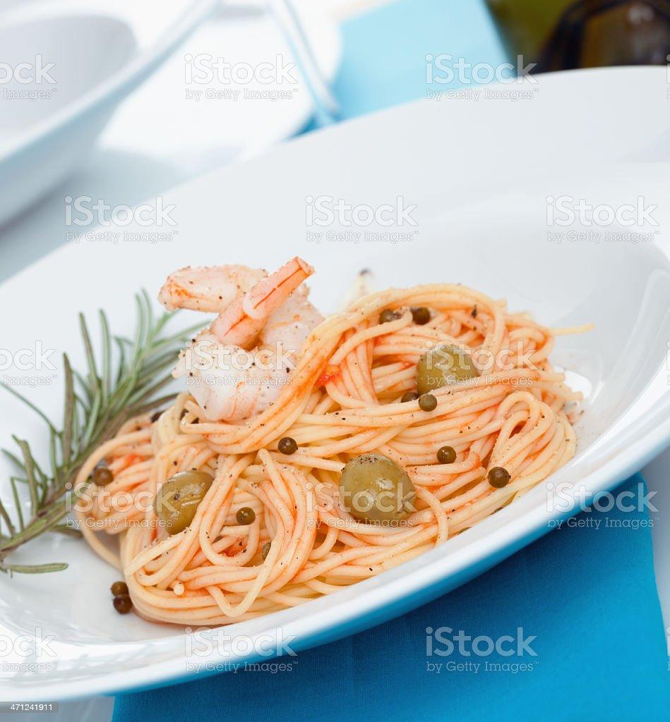 Delicious Spaghetti with shrimps royalty-free stock photo