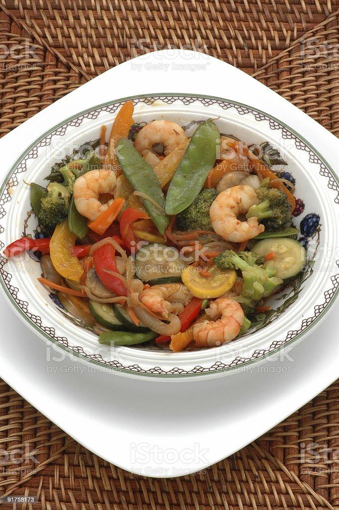 Delicious Stir Fry Shrimp royalty-free stock photo