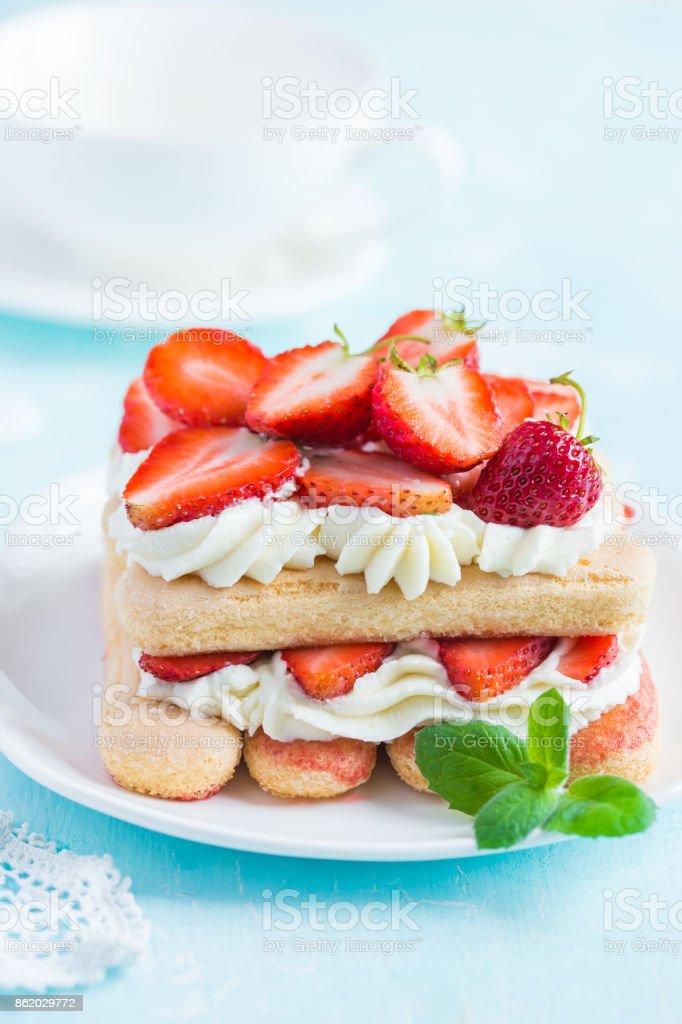 delicious strawberry tiramisu stock photo