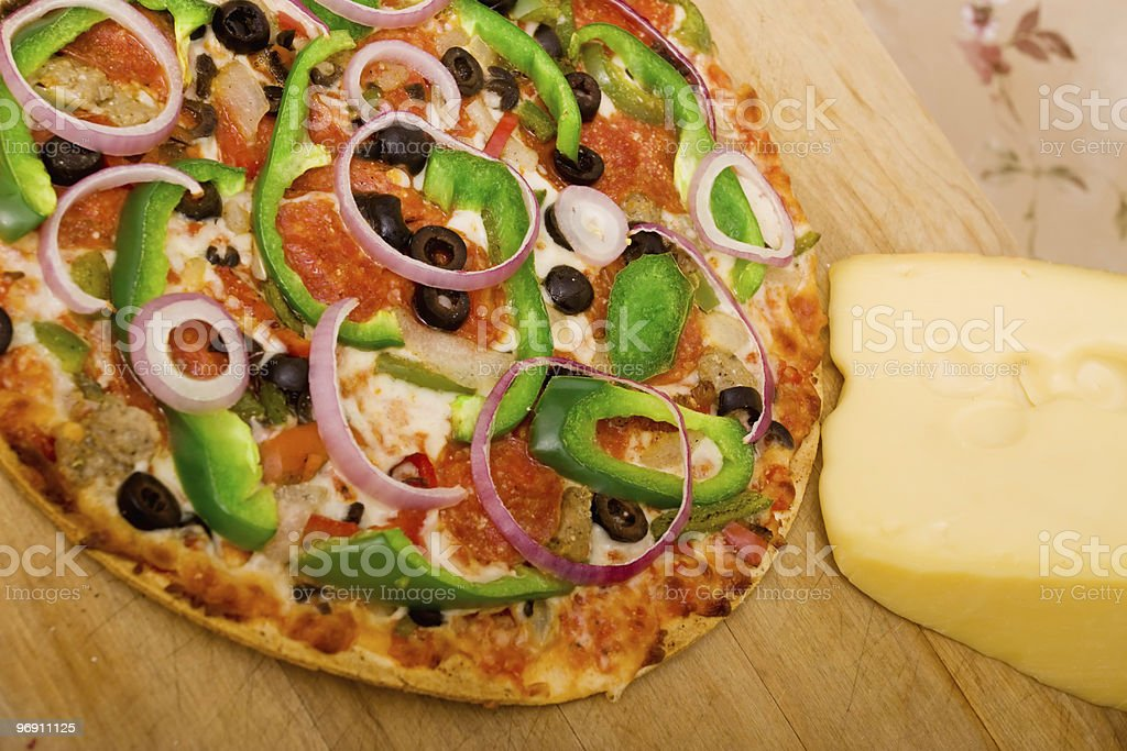 Delicious supreme pizza royalty-free stock photo