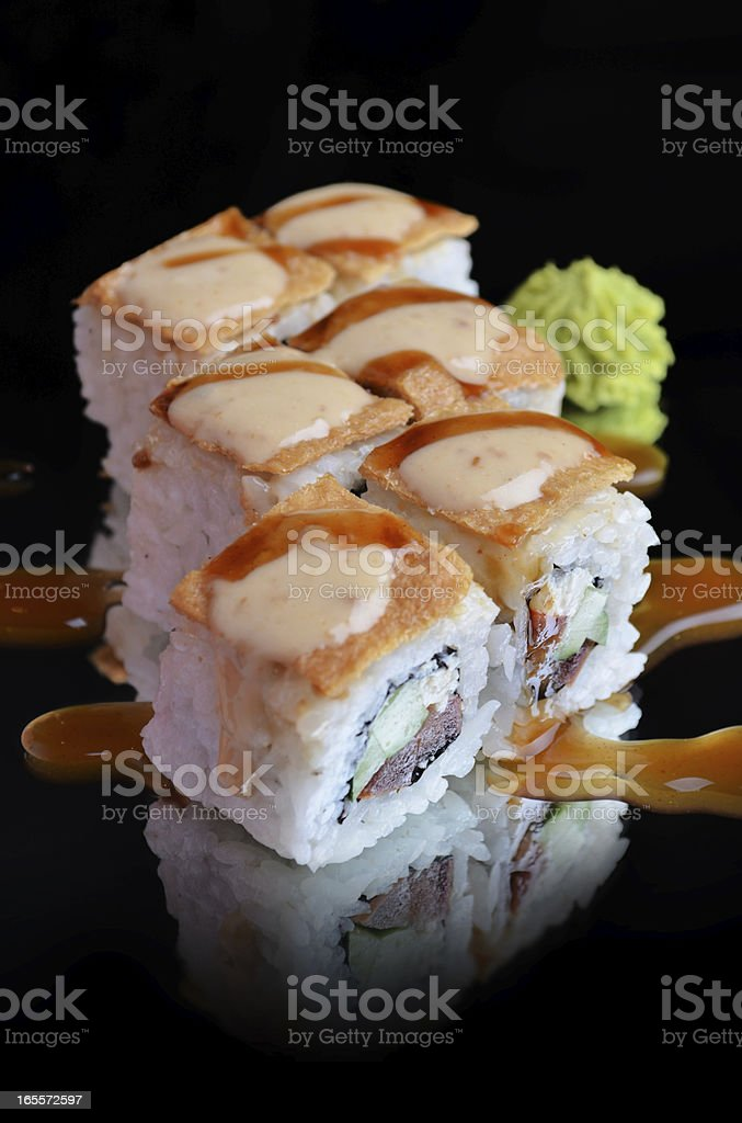 Delicious sushi rolls royalty-free stock photo