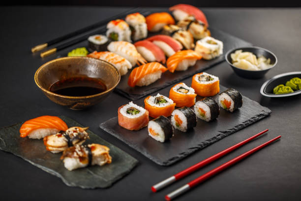delicious sushi set - sport set competition round stock photos and pictures