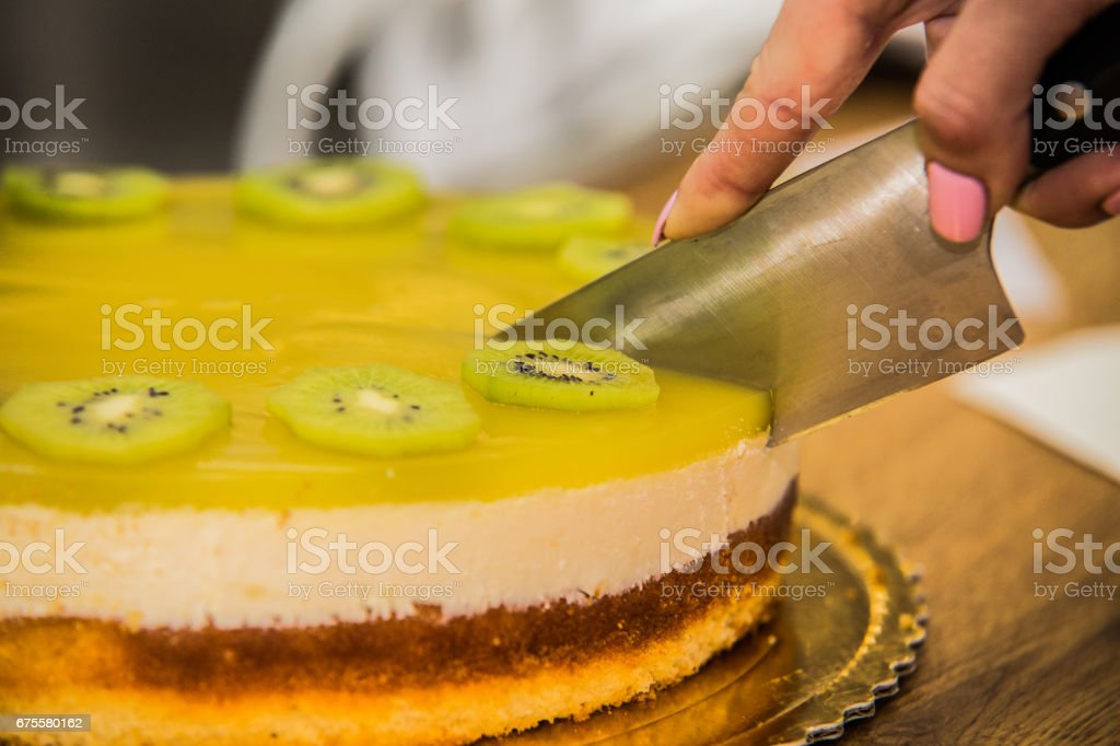 Delicious sweet baked cake with fruit foto de stock royalty-free
