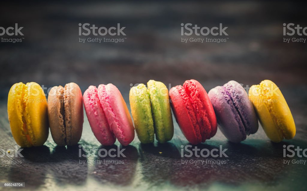 Delicious Sweet Colorful Macarons stock photo