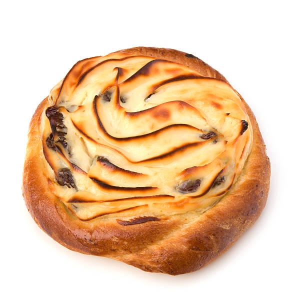 Delicious sweet cream bun stock photo