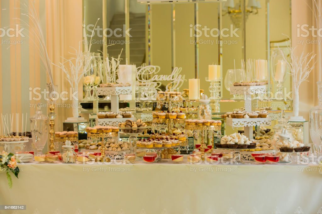 Delicious Sweets On Candy Buffet Wedding Candy Bar Decoration Setup