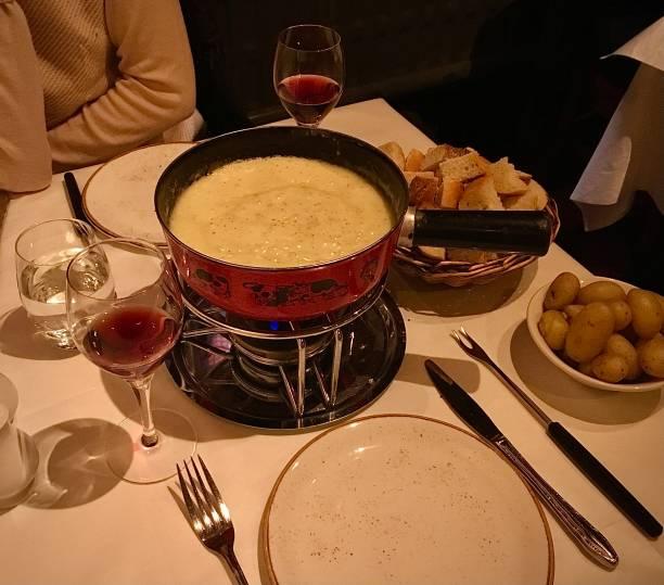 A delicious Swiss Fondue. stock photo