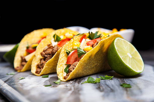 delicious tacos - mexican food stock photos and pictures