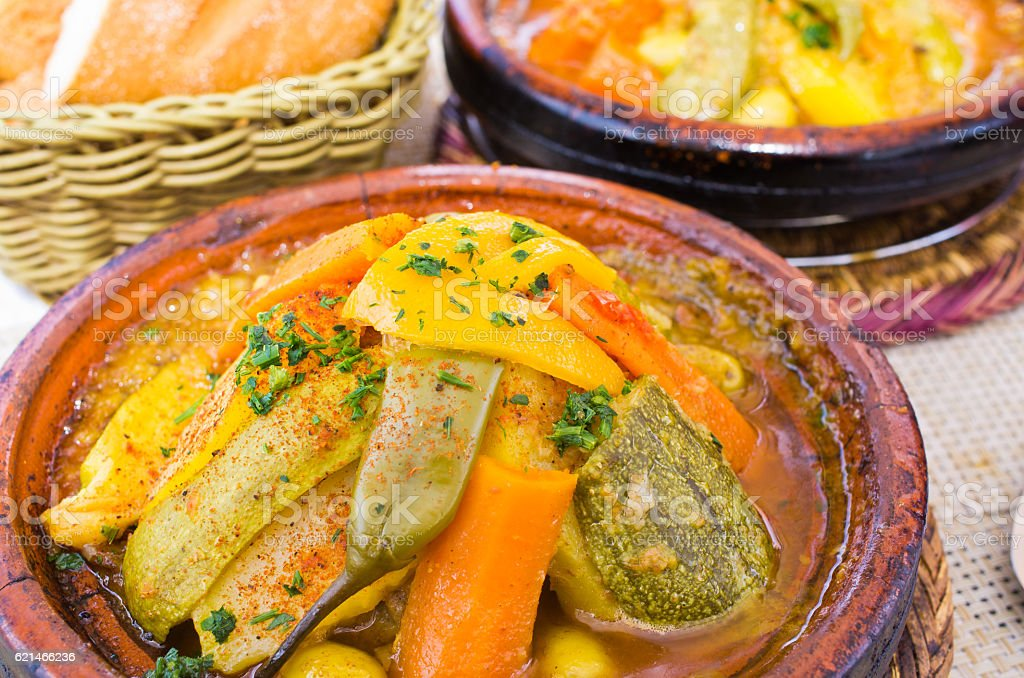 Delicious tajine on the table - Morocco stock photo