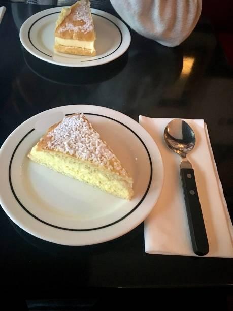 A delicious Tarte Tropézienne. stock photo