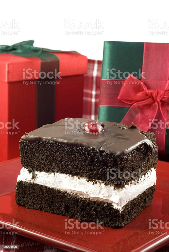 Delicious Three Layer Chocolate Holiday Cake royalty-free stock photo