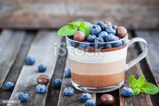 480972628 istock photo Delicious  three layered chocolate mousse dessert, decorated wit 640356224