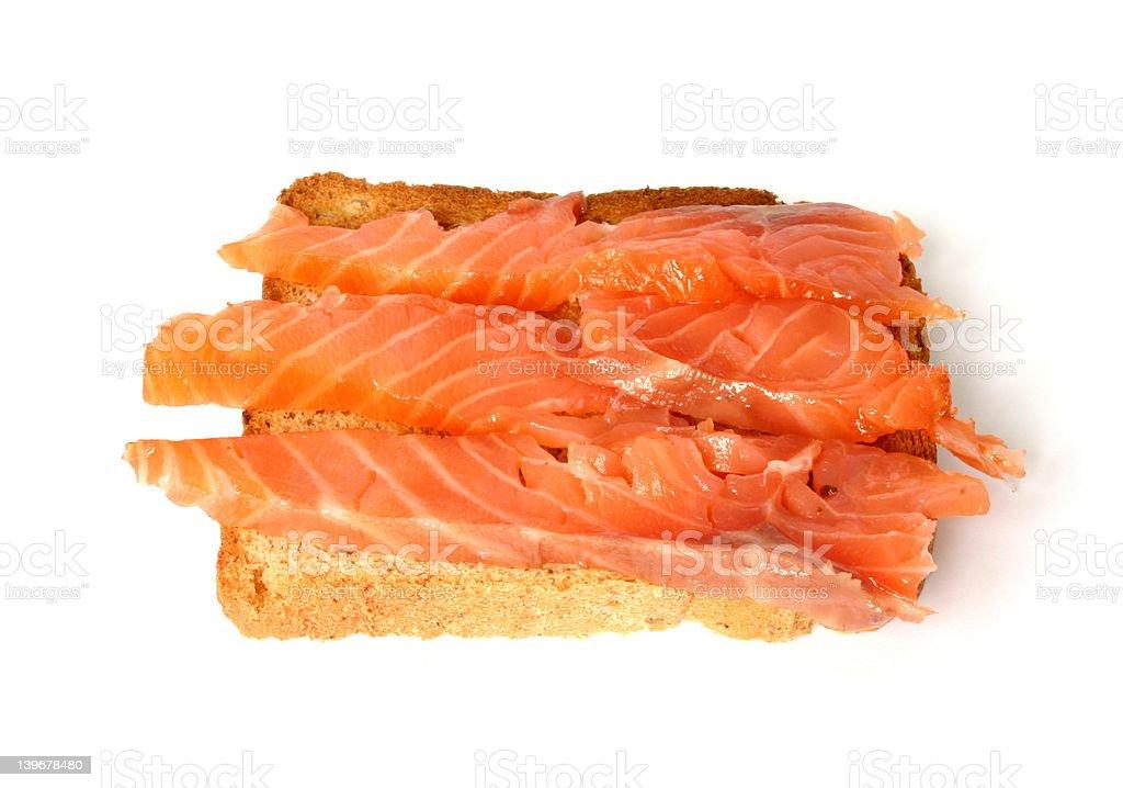 delicious toast with smoked salmon royalty-free stock photo
