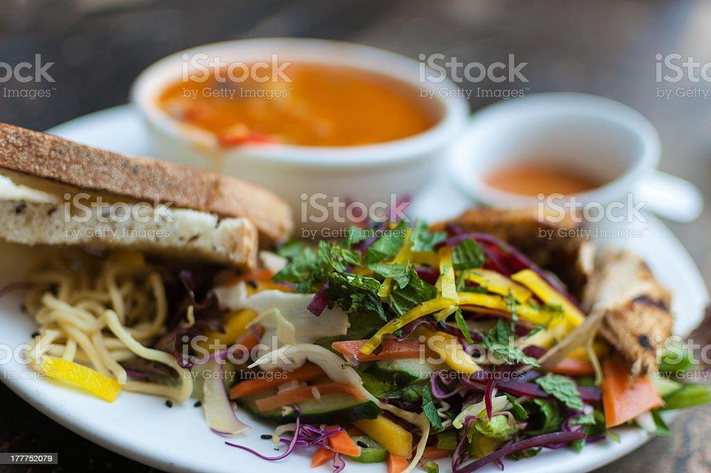 Delicious tortilla soup and mango salad royalty-free stock photo
