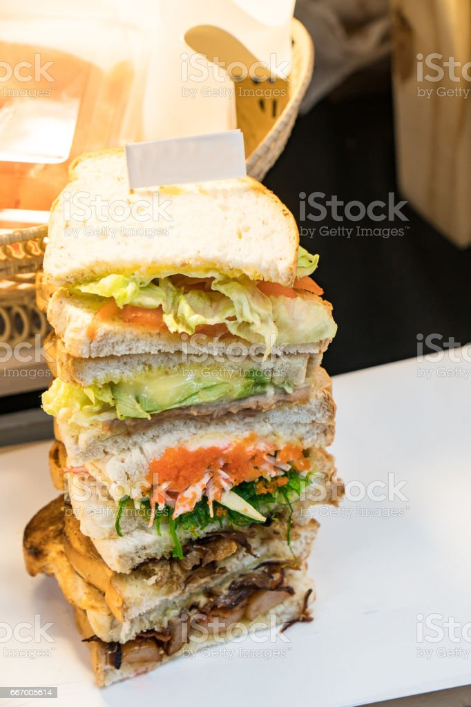 Delicious tower sandwich stock photo