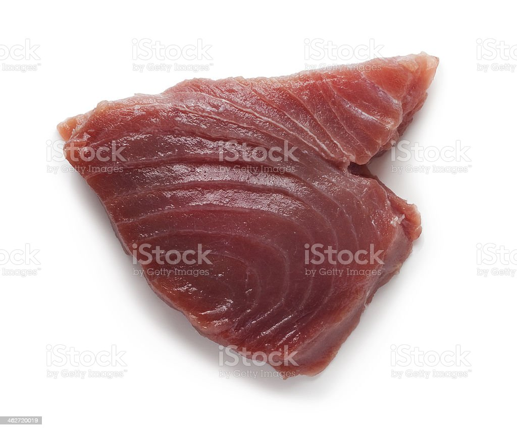 Delicious tuna fish steak isolated on a white background stock photo