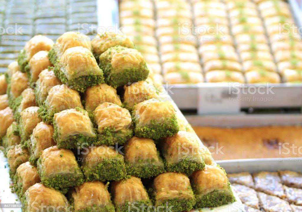 Delicious Turkish baklava stock photo