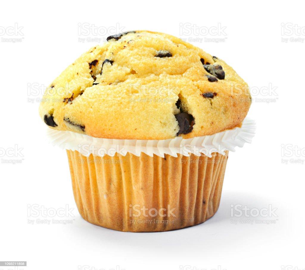 Delicious vanilla muffin with chocolate stock photo