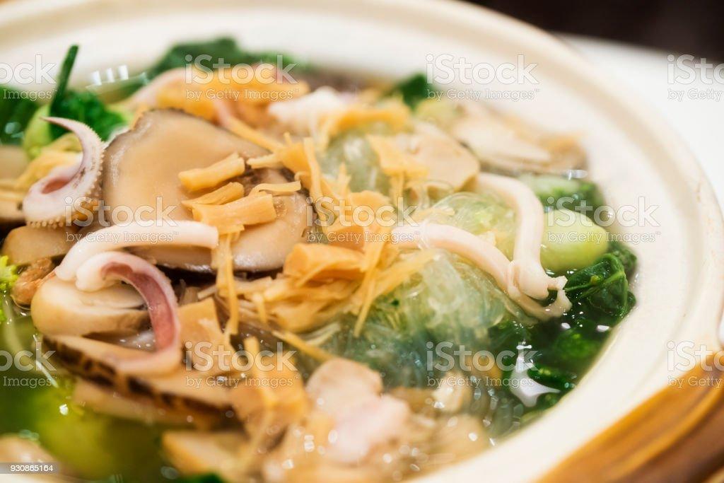 Köstliche Meeresfrüchte und Gemüse Suppe – Foto