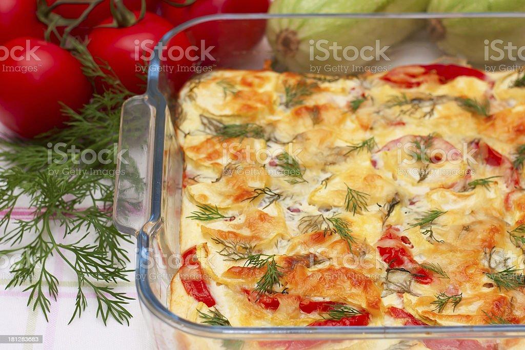 Delicious vegetables gratin stock photo