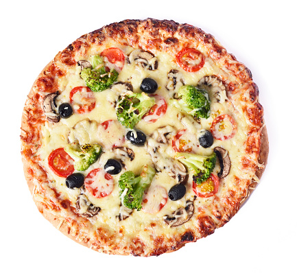 delicious vegetarian pizza, isolated