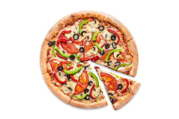 delicious vegetarian pizza on white - pizza стоковые фото и изображения
