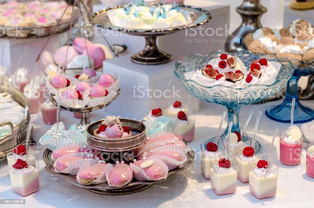 Kostliche Hochzeit Empfang Candy Bar Desserttisch Voller Panacotta