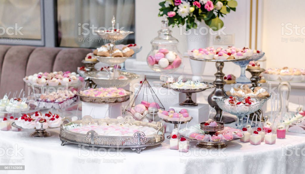 Delicious Wedding Reception Candy Bar Dessert Table Full With Cakes And Sweets And A Flower Vase With Hydrangeas Luxury Life Stock Photo Download Image Now Istock