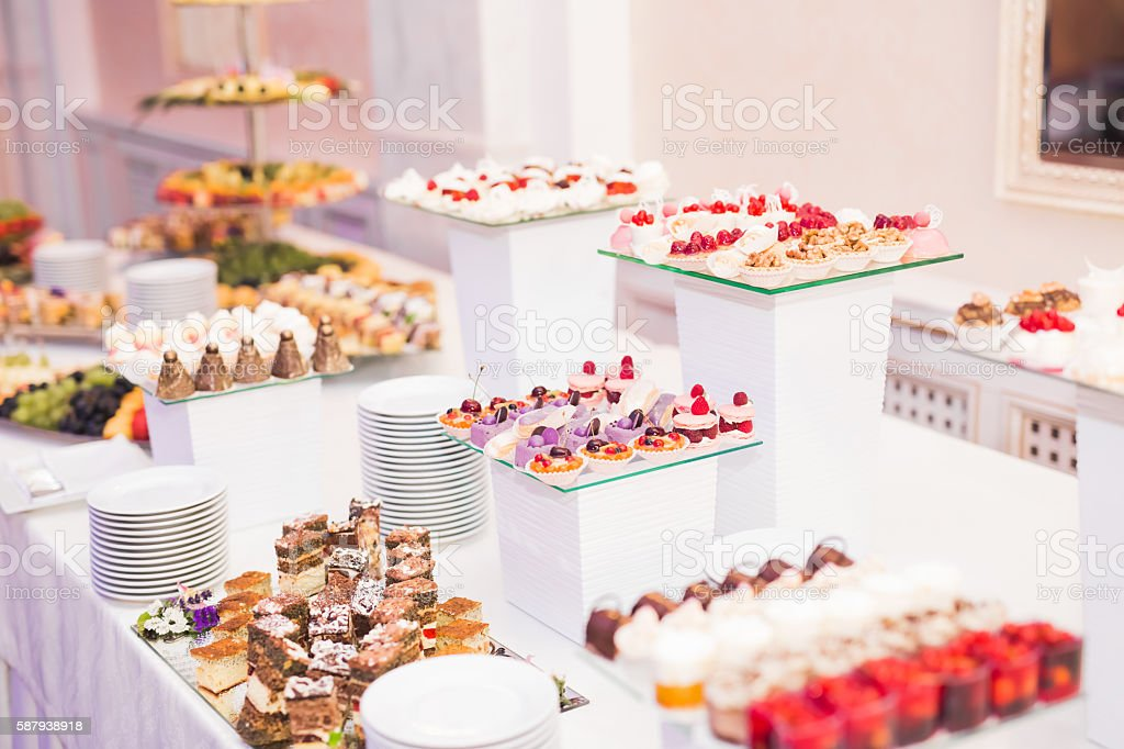 Delicious Wedding Reception Candy Bar Dessert Table Stock Photo