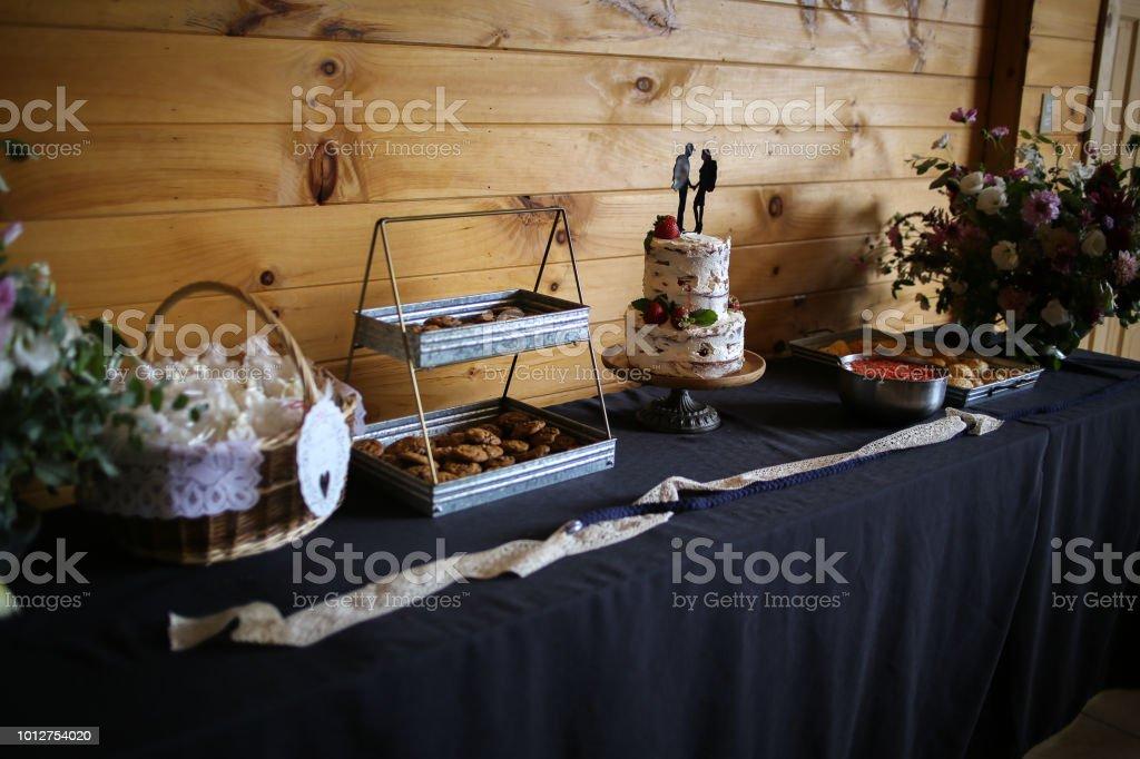 Delicious Wedding Reception Dessert Table With Wedding Cake