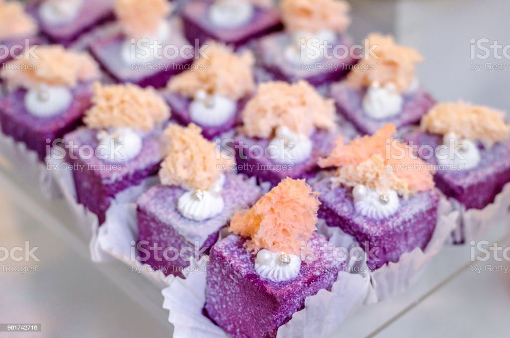 Delicious Wedding Reception Sweets Luxury Purple Color Desserts With
