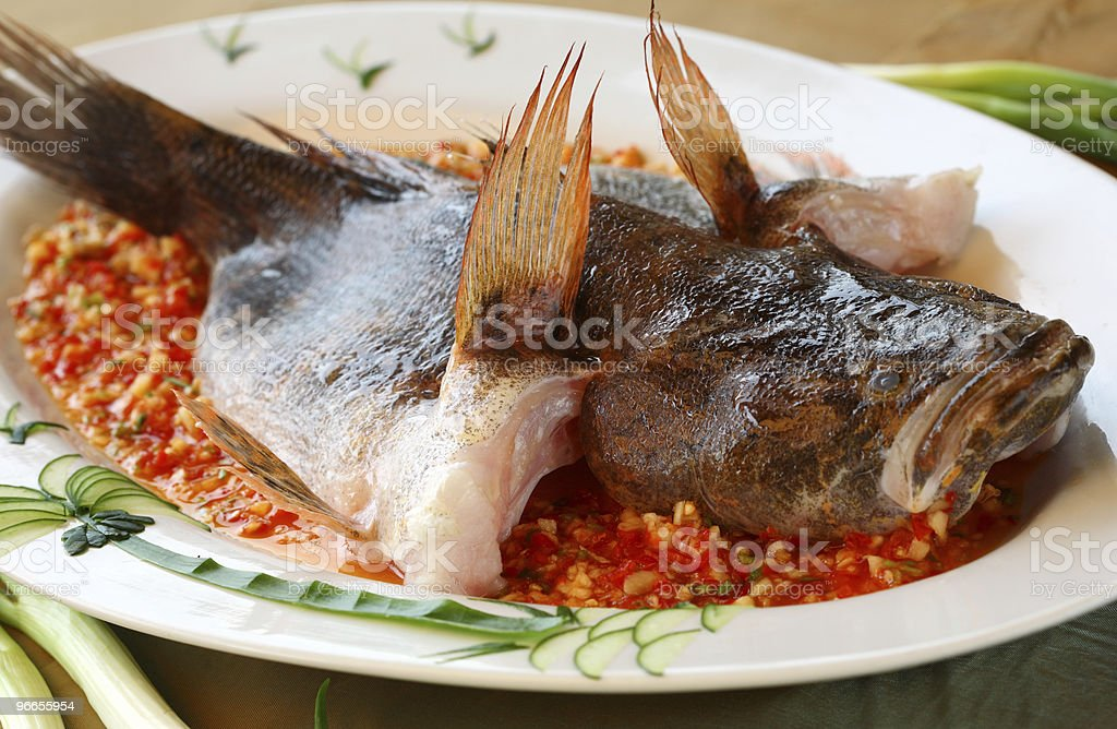 delicious whole steamed fish royalty-free stock photo