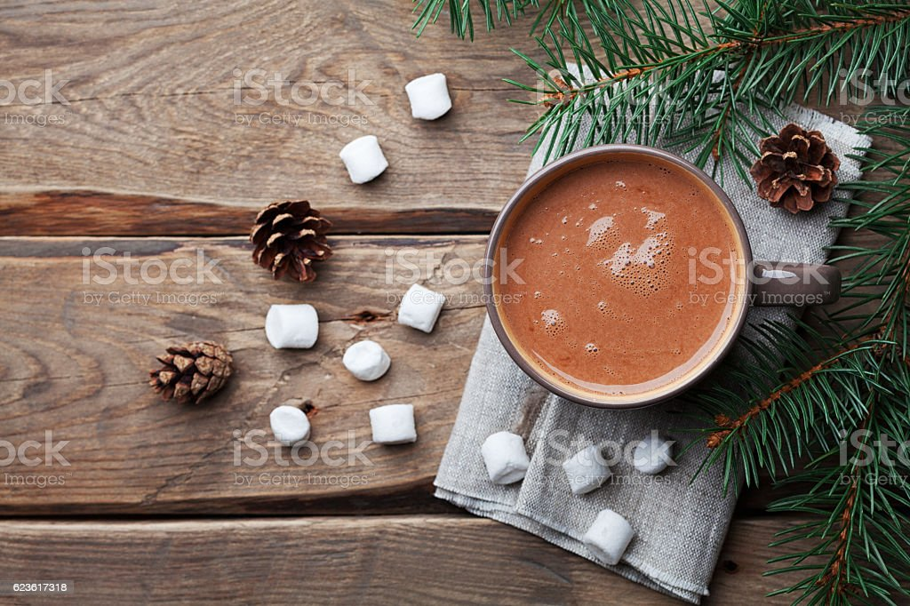 Delicious winter drink from hot chocolate, cocoa. Flat lay. stock photo
