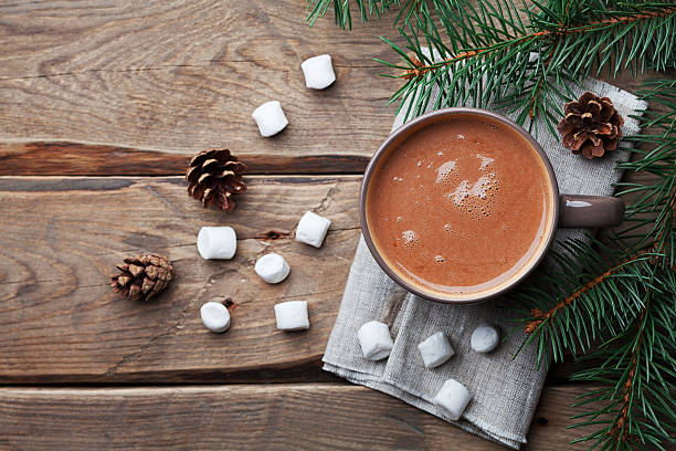 delicious winter drink from hot chocolate, cocoa. flat lay. - hot chocolate stock photos and pictures