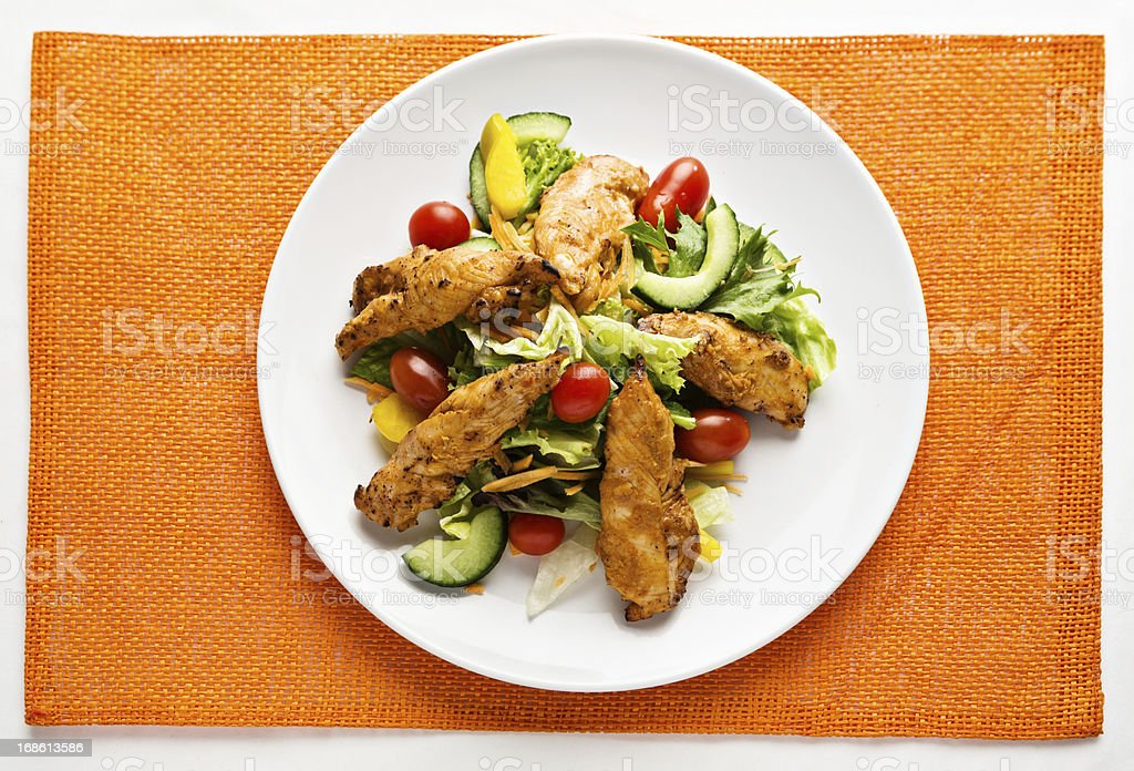 Delicious-looking Tandoori chicken and salad is low-carbohydrate too! stock photo