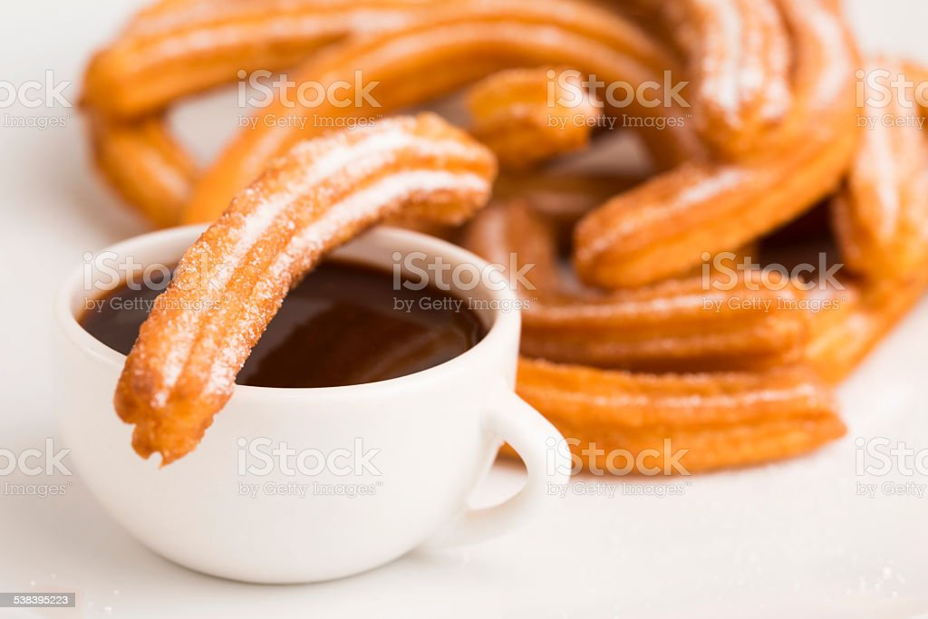 deliciuos spanish Churros with hot chocolate stock photo