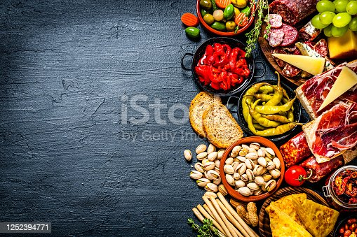 Mediterranean food background: high angle view of a black table with a delicious appetizer that includes a cheeses selection, Serrano ham, Spanish omelet, chorizo, olives, pickles, peanuts, breadsticks, bread, jalapeño pepper, sun dried tomatoes and grape. The composition is at the right of an horizontal frame leaving useful copy space for text and/or logo at the left. High resolution 42Mp studio digital capture taken with Sony A7rII and Sony FE 90mm f2.8 macro G OSS lens