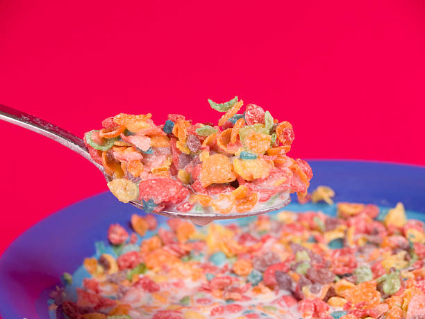 Delicous Bite of Fruity Cereal stock photo