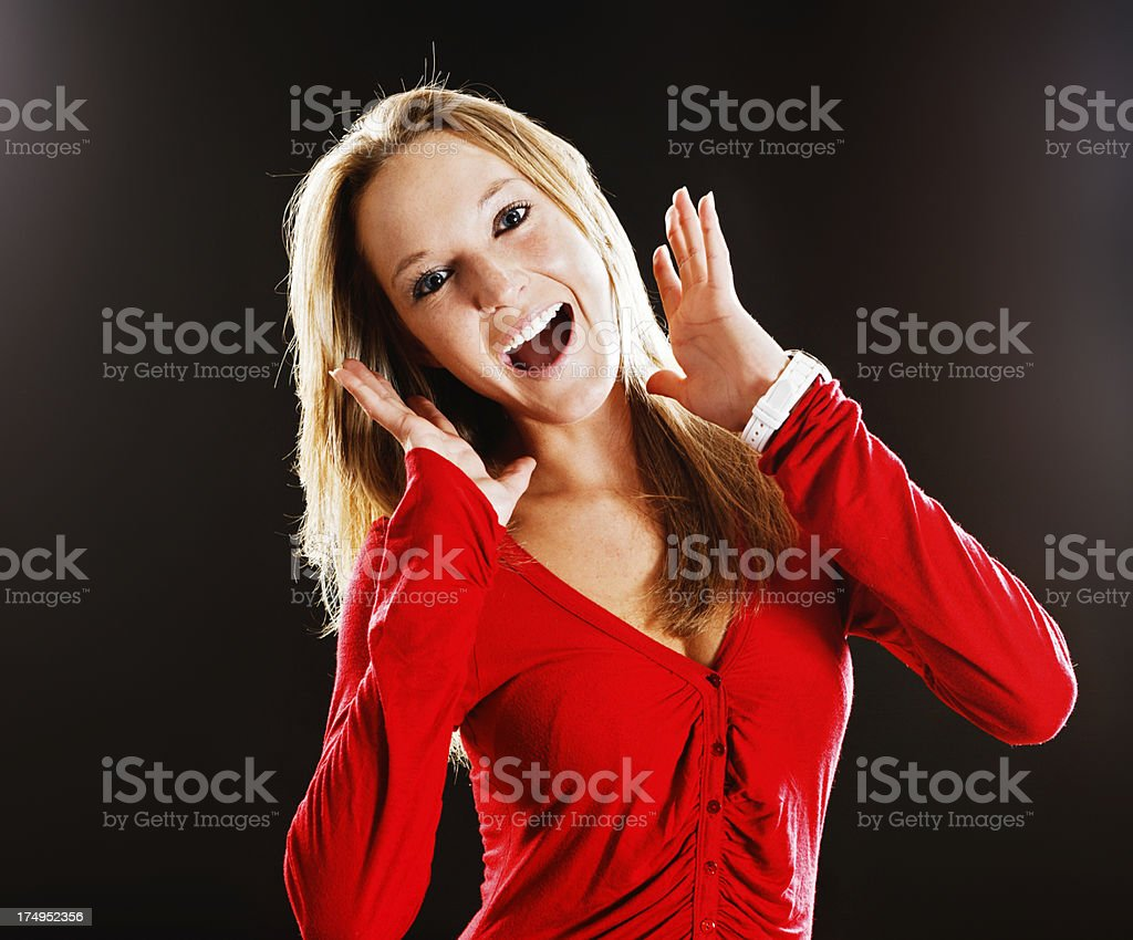 Delighted blonde gets very good news! stock photo