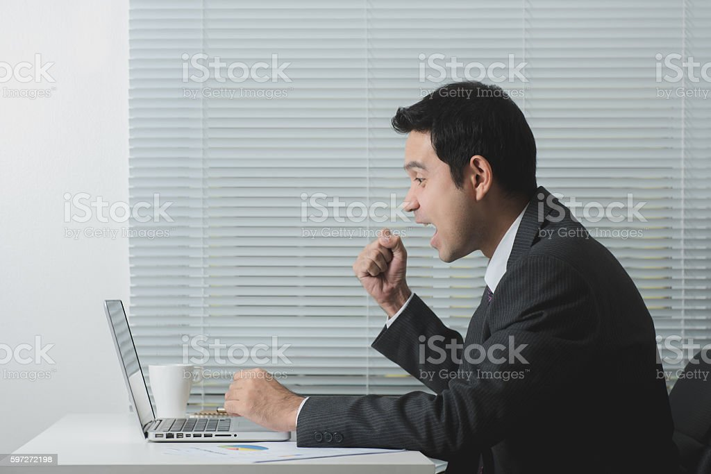 Delighted businessman raising his fist while working royalty-free stock photo
