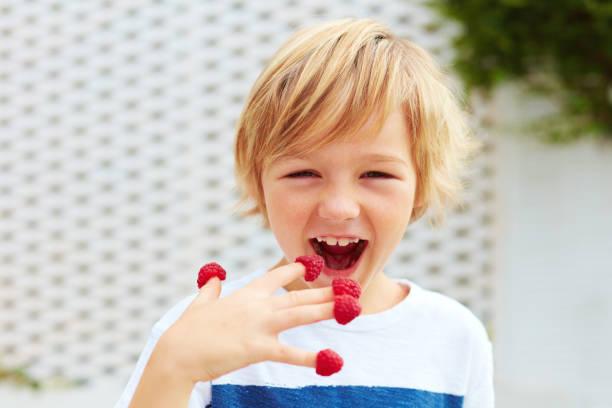 blij kind, jongen proeverij rijp en verse frambozen uit zijn vingers - tasting stockfoto's en -beelden