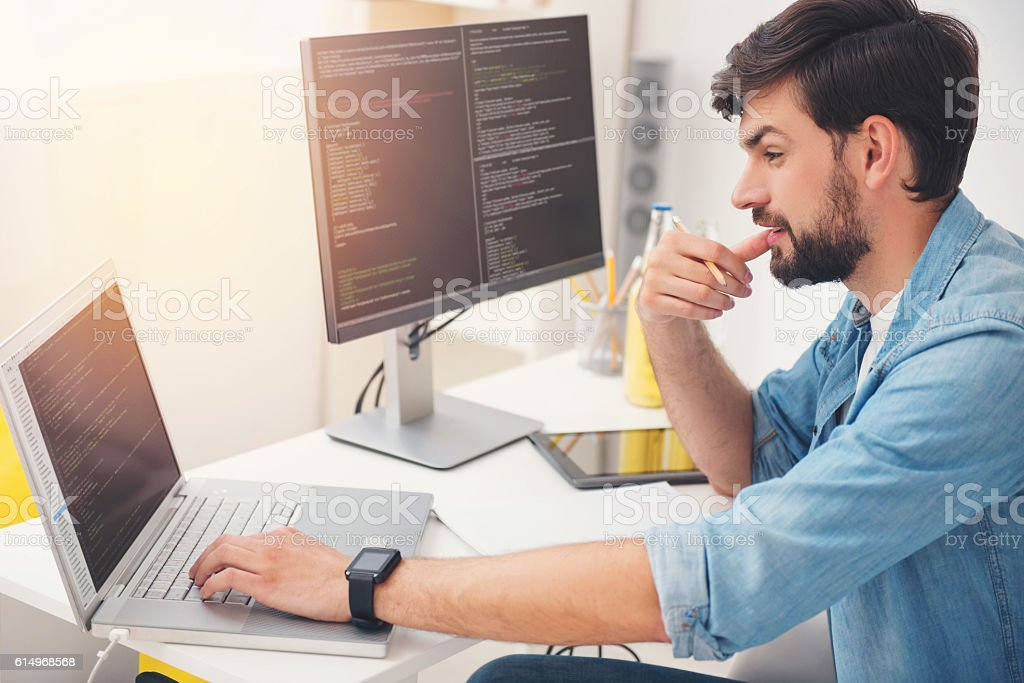 Delighted programmer working on a laptop - foto de stock