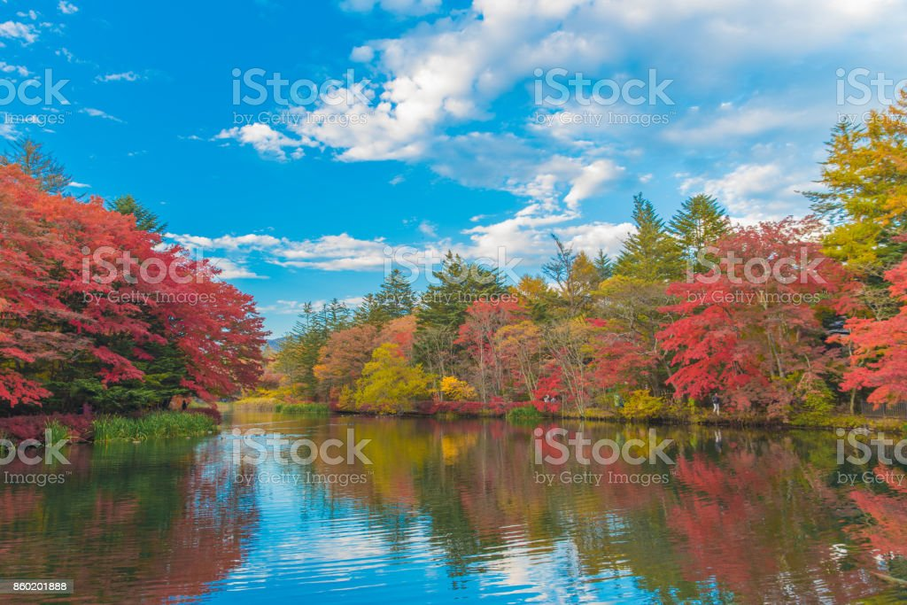 Delightful autumn colors of Kumoba pond in Karuizawa,Japan stock photo