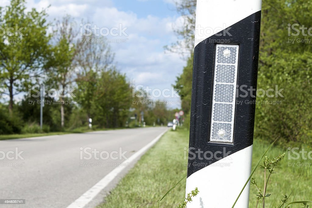 Delineator on a Street in Germany stock photo